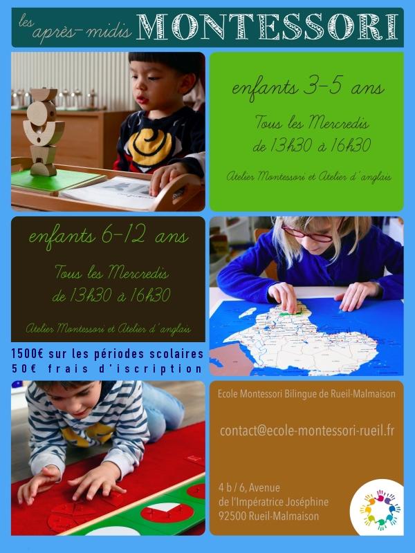 Les Ateliers du Mercredi de l'Ecole Montessori Bilingue de Rueil-Malmaison