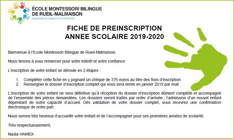 PRE-INSCRIPTION 2019-2020 - ECOLE MONTESSORI BILINGUE REUIL-MALMAISON